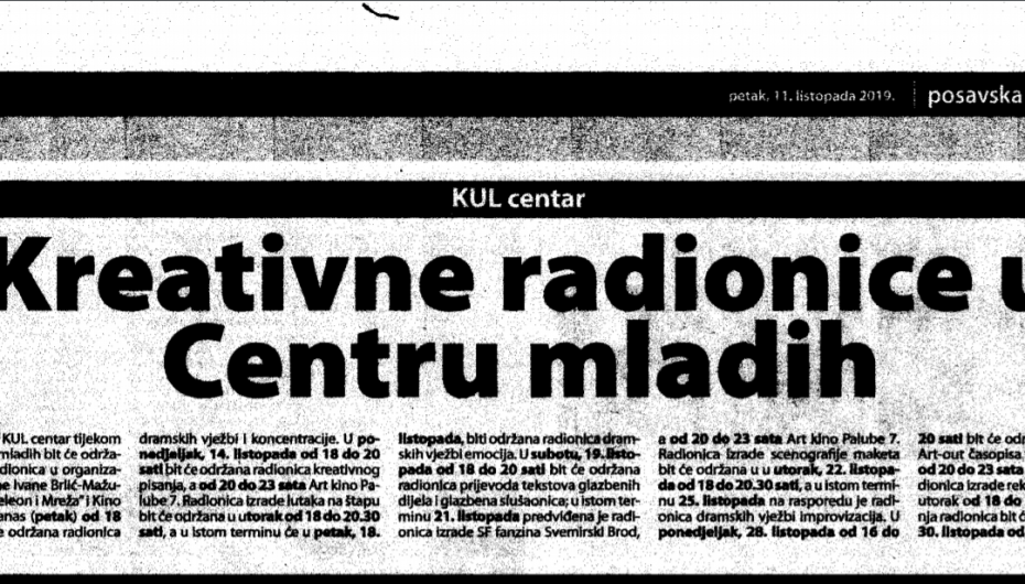 Posavska Hrvatska o radionicama u Kul centru